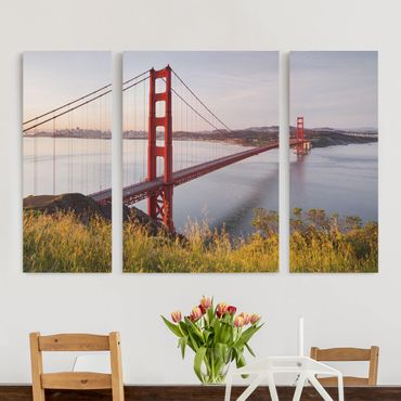 Leinwandbild 3-teilig - Golden Gate Bridge in San Francisco - Triptychon