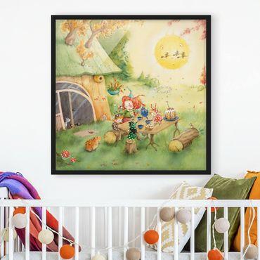 Bild mit Rahmen - Frida frühstückt - Quadrat 1:1