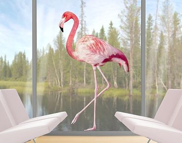 Fensterfolie - Fenstersticker No.YK21 Pink Flamingo - Fensterbilder