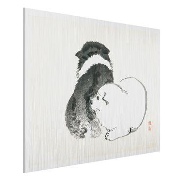 Aluminium Print gebürstet - Asiatische Vintage Zeichnung Schwarze und weiße Hündchen - Querformat 3:4