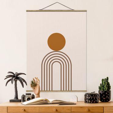 Stoffbild mit Posterleisten - Line Art Kreis und Linien Kupfer - Hochformat 4:3