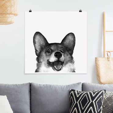 Poster - Illustration Hund Corgi Weiß Schwarz Malerei - Quadrat 1:1