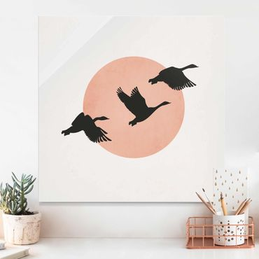 Glasbild - Vögel vor rosa Sonne III - Quadrat 1:1