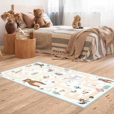 Vinyl-Teppich - Spielteppich Waldtiere - Freunde auf dem Waldweg - Hochformat 1:2