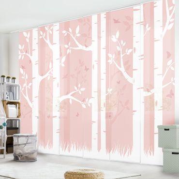 Schiebegardinen Set - Rosa Birkenwald mit Schmetterlingen und Vögel - Flächenvorhänge