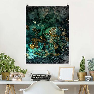 Poster - Goldene Meeres-Inseln Abstrakt - Hochformat 4:3