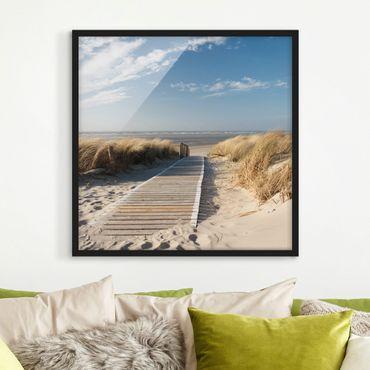 Bild mit Rahmen - Ostsee Strand - Quadrat 1:1