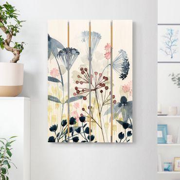 Holzbild - Wildblumen Aquarell I - Hochformat 3:2
