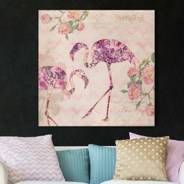 Leinwandbild - Vintage Collage - Rosa Blüten Flamingos - Quadrat 1:1