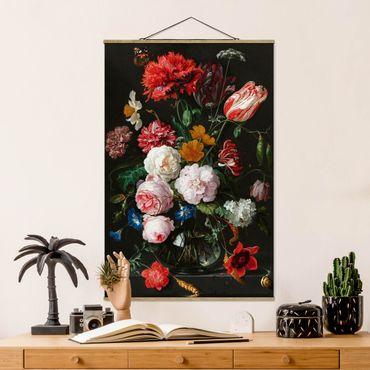 Stoffbild mit Posterleisten - Jan Davidsz de Heem - Stillleben mit Blumen in einer Glasvase - Hochformat 2:3