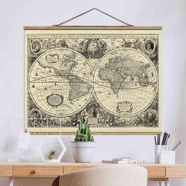 Stoffbild mit Posterleisten - Vintage Weltkarte Antike Illustration - Querformat 4:3