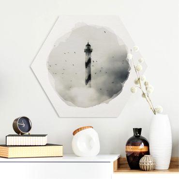 Hexagon Bild Forex - Wasserfarben - Leuchtturm im Nebel