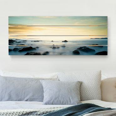 Holzbild - Sonnenuntergang über dem Ozean - Querformat 2:5