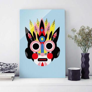Glasbild - Collage Ethno Maske - Gesicht - Hochformat 3:2