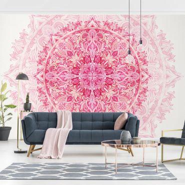 Fototapete - Mandala Aquarell Ornament pink - Fototapete Breit
