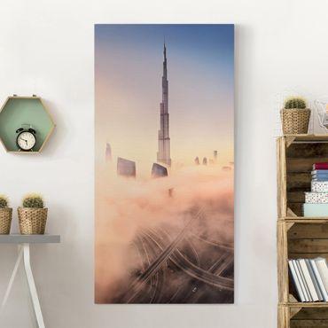 Leinwandbild - Himmlische Skyline von Dubai - Hochformat 2:1