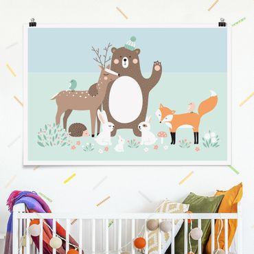 Poster - Forest Friends mit Waldtieren blau - Querformat 2:3