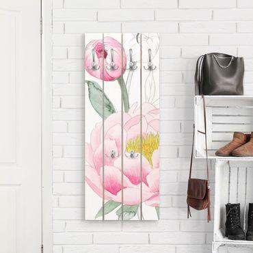 Wandgarderobe Holz - Zeichnung Rosa Päonien II - Haken chrom Hochformat