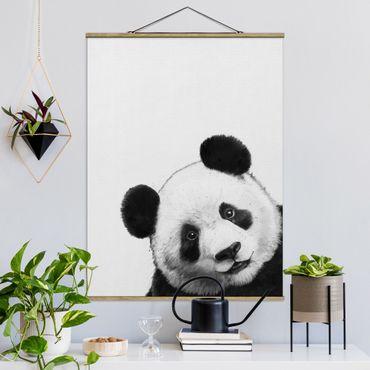 Stoffbild mit Posterleisten - Laura Graves - Illustration Panda Schwarz Weiß Malerei - Hochformat 4:3