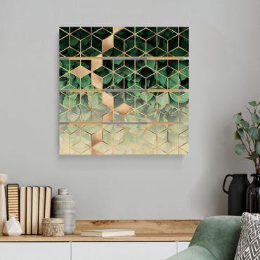 Holzbild - Elisabeth Fredriksson - Grüne Blätter goldene Geometrie - Quadrat 1:1