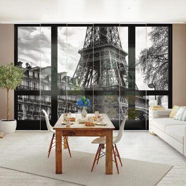 Schiebegardinen Set - Fensterausblick Paris - Nahe am Eiffelturm schwarz weiß - Flächenvorhänge