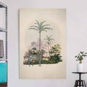 Leinwandbild - Zebra vor Palmen Illustration - Hochformat 3:2