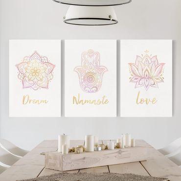 Leinwandbild 3-teilig - Mandala Namaste Lotus Set gold rosa - Hoch 3:2