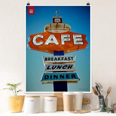 Poster - Route 66 - Schild Café - Hochformat 3:4