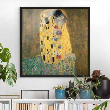 Bild mit Rahmen - Gustav Klimt - Der Kuß - Quadrat 1:1