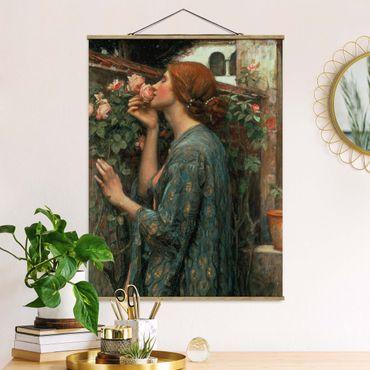 Stoffbild mit Posterleisten - John William Waterhouse - Die Seele der Rose - Hochformat 3:4