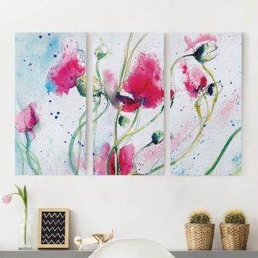 Leinwandbild 3-teilig - Painted Poppies - Hoch 1:2