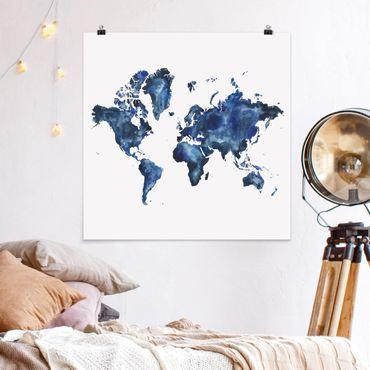 Poster - Wasser-Weltkarte hell - Quadrat 1:1