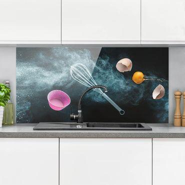 Spritzschutz Glas - Chaos in der Küche - Querformat - 2:1