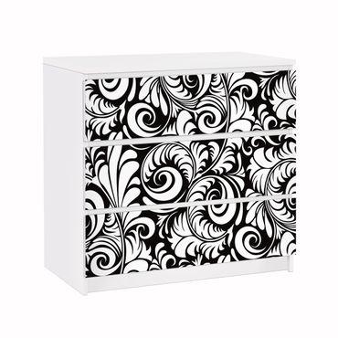 Möbelfolie für IKEA Malm Kommode - Klebefolie Black and White Leaves Pattern