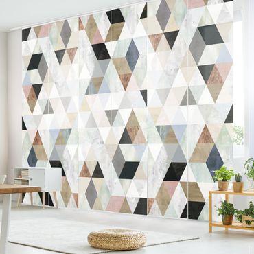 Schiebegardinen Set - Aquarell-Mosaik mit Dreiecken I - Flächenvorhang