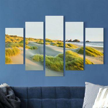 Leinwandbild 5-teilig - Dünen und Gräser am Meer