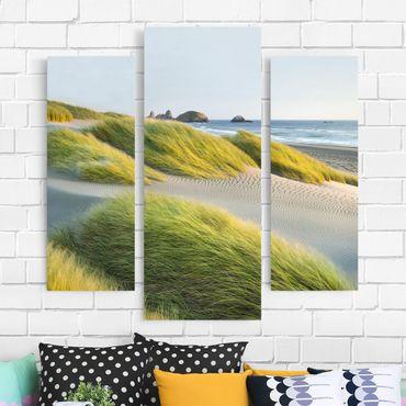 Leinwandbild 3-teilig - Dünen und Gräser am Meer - Galerie Triptychon