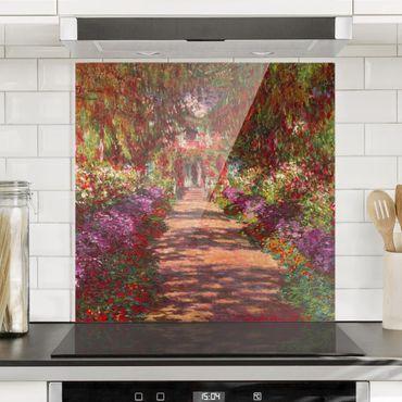 Spritzschutz Glas - Claude Monet - Weg in Monets Garten in Giverny - Quadrat 1:1