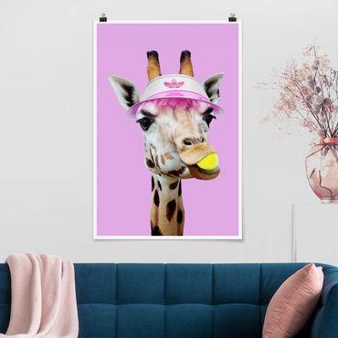 Poster - Jonas Loose - Giraffe beim Tennis - Hochformat 3:2