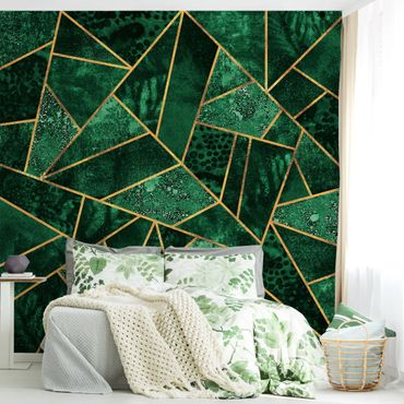 Fototapete - Dunkler Smaragd mit Gold - Fototapete Quadrat