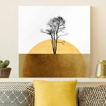 Glasbild - Goldene Sonne mit Baum - Quadrat 1:1
