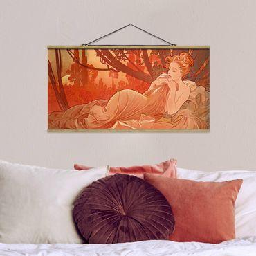 Stoffbild mit Posterleisten - Alfons Mucha - Abenddämmerung - Querformat 1:2