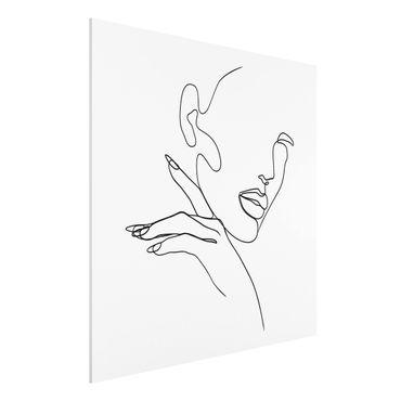 Forex Fine Art Print - Line Art Frau Portrait Schwarz Weiß - Quadrat 1:1