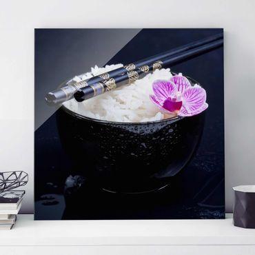 Glasbild - Reisschale mit Orchidee - Quadrat 1:1