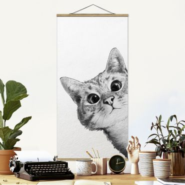 Stoffbild mit Posterleisten - Laura Graves - Illustration Katze Zeichnung Schwarz Weiß - Hochformat 2:1