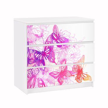 Möbelfolie für IKEA Malm Kommode - Klebefolie Schmetterlingstraum