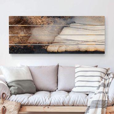 Holzbild - Elisabeth Fredriksson - Goldener Marmor gemalt - Querformat 2:5