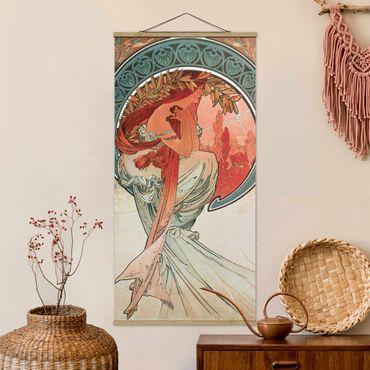 Stoffbild mit Posterleisten - Alfons Mucha - Vier Künste - Die Poesie - Hochformat 2:1