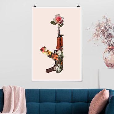 Poster - Jonas Loose - Waffe mit Rose - Hochformat 3:2