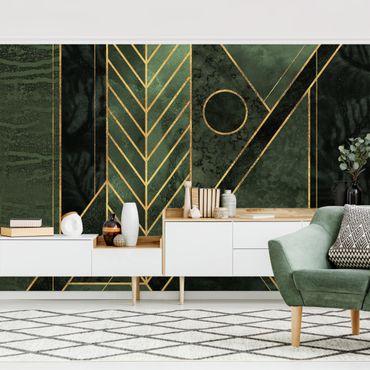 Fototapete - Geometrische Formen Smaragd Gold - Fototapete Quadrat